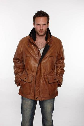 Mens Leather Parka Coat in Timber Brown